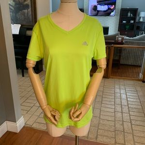Neon green Adidas V-neck short sleeve shirt size M